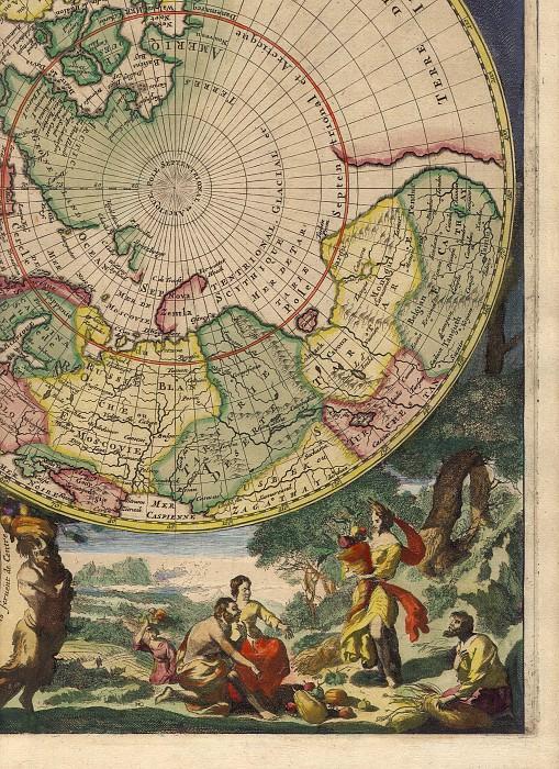 Cornelis Mortier - North and South Pole, 1720. Antique world maps HQ