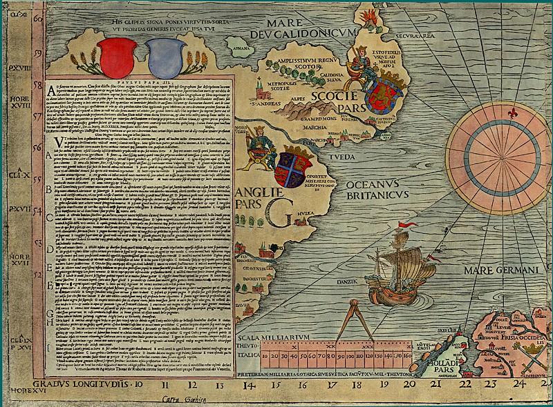 Олаф Магнус - Carta Marina, 1539 - Шотландия, Англия. Древние карты мира в высоком разрешении - Старинные карты