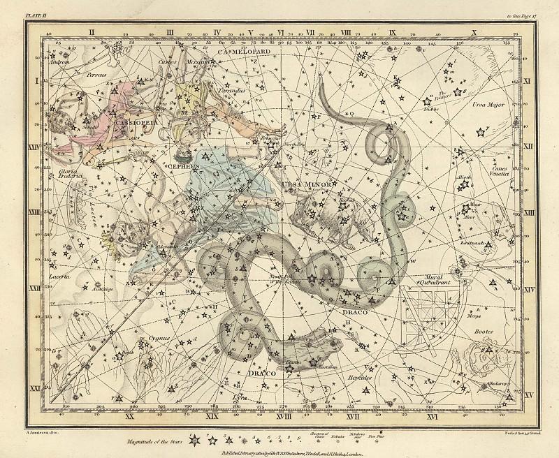 Ursa Minor, Cassiopeia, Tarandus, Cepheus, Draco, Custos Messium. Antique world maps HQ
