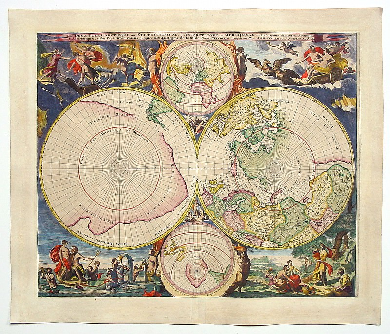 Cornelis Mortier - North and South Pole, 1720. Antique world maps HQ