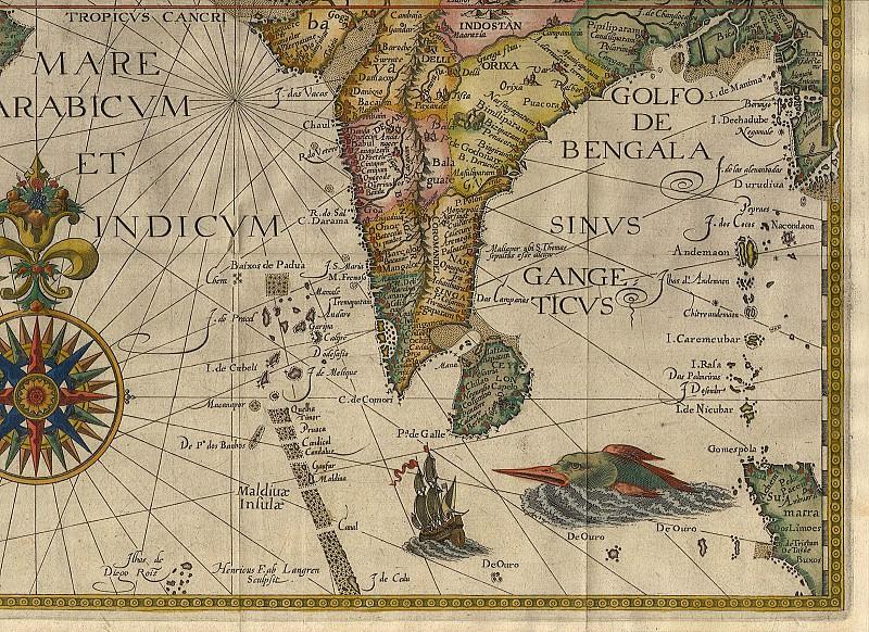 Jan van Linschoten - India and Arabia, 1596. Antique world maps HQ