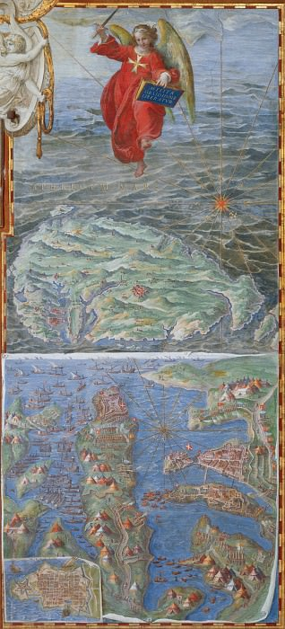 Map of the Island of Malta and the Siege of Valletta by the Ottoman Fleet (1565). Antique world maps HQ
