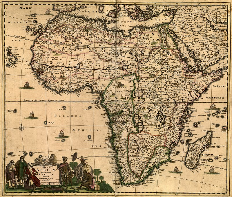 Frederik De Wit - Africa, 1688. Antique world maps HQ