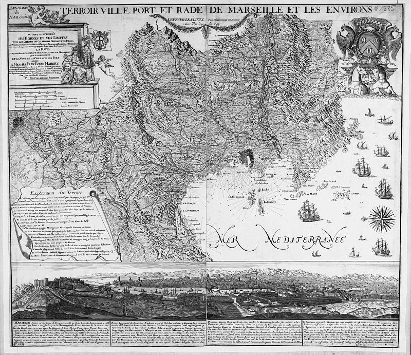 Сhevalier de Soissons - Map of Marseille and around, 1700-20. Antique world maps HQ