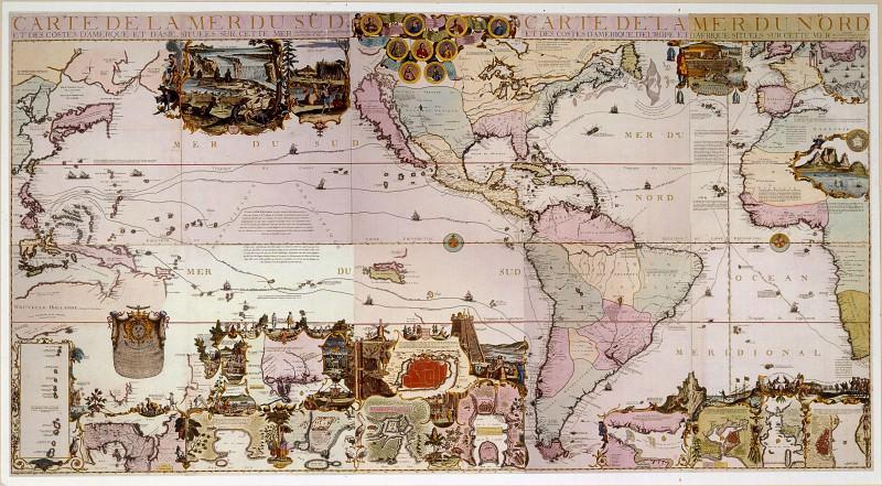 Nicolas de Fer - Map of the New World, 1713. Antique world maps HQ