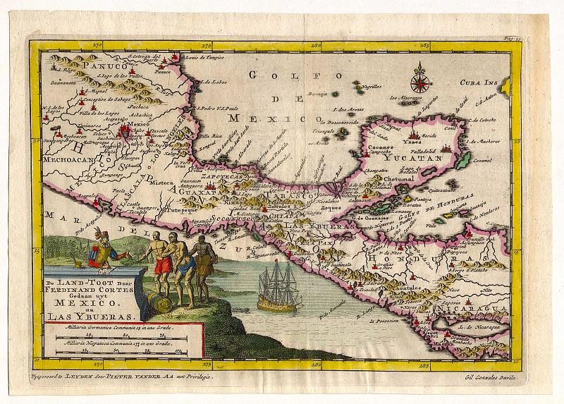 Pieter van der Aa - Yucatan, Honduras, 1706. Antique world maps HQ