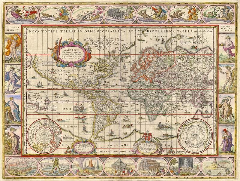 Jan Willemsz. Blaeu - The World map, 1635. Antique world maps HQ