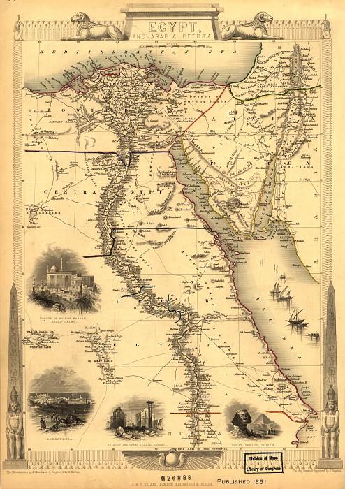 Egypt and Arabia Petraea, 1851. Antique world maps HQ
