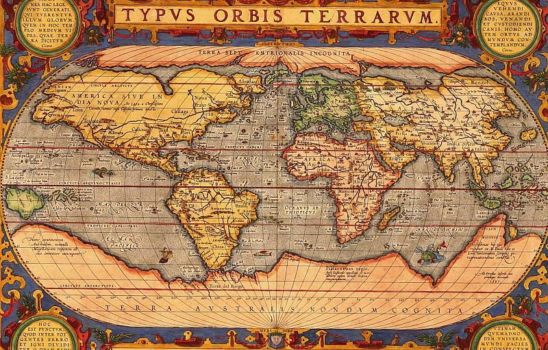 Ортелий, Абрахам - Карта мира, 1601. Древние карты мира в высоком разрешении - Старинные карты