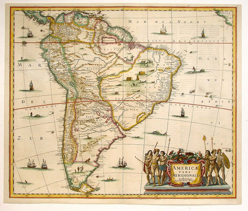 Jan Janssonius - South America. Antique world maps HQ