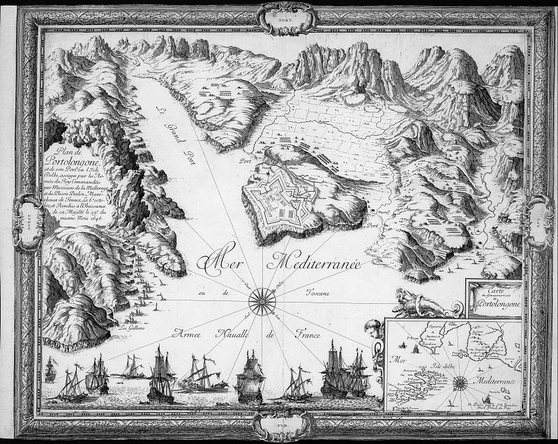 Porto Azzurro siege, 1646. Antique world maps HQ
