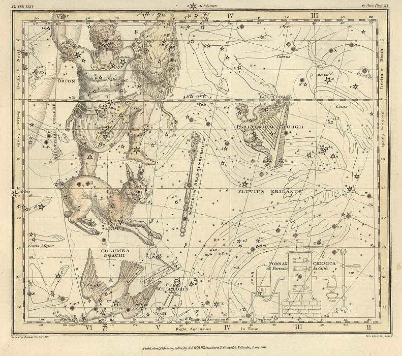Eridanus, Orion, Lepus, Columba, Cela Sculptoris, Psalterium Georgii, Sceptrum Brandenburgium. Antique world maps HQ