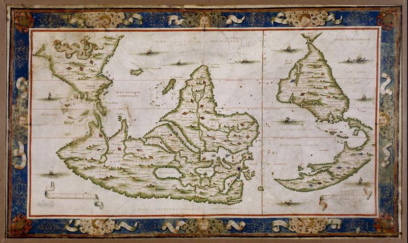 Nicolas Desliens - Planisphere, 1566. Antique world maps HQ