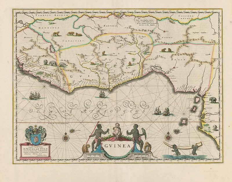 Jan Willemsz. Blaeu - Guinea, 1640. Antique world maps HQ