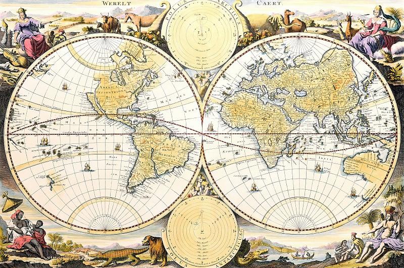 Николас Висхер - Карта Мира. Древние карты мира в высоком разрешении - Старинные карты