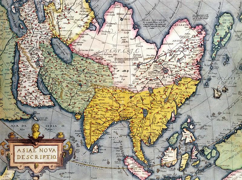 Claes Jansz - Antique Map of Asia. Antique world maps HQ
