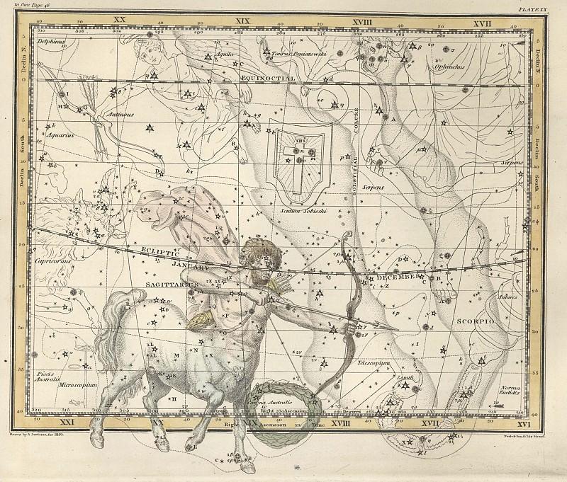 Sagittarius, Corona Australis. Antique world maps HQ