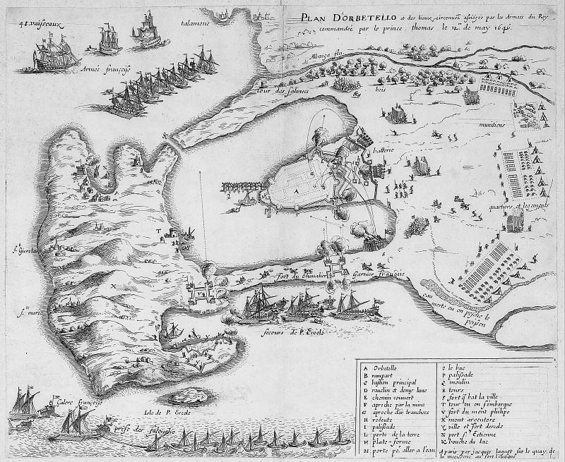 Жак Ланье - План Орбетелло, 1646. Древние карты мира в высоком разрешении - Старинные карты