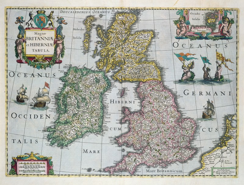 Map of Britain, 1661. Antique world maps HQ