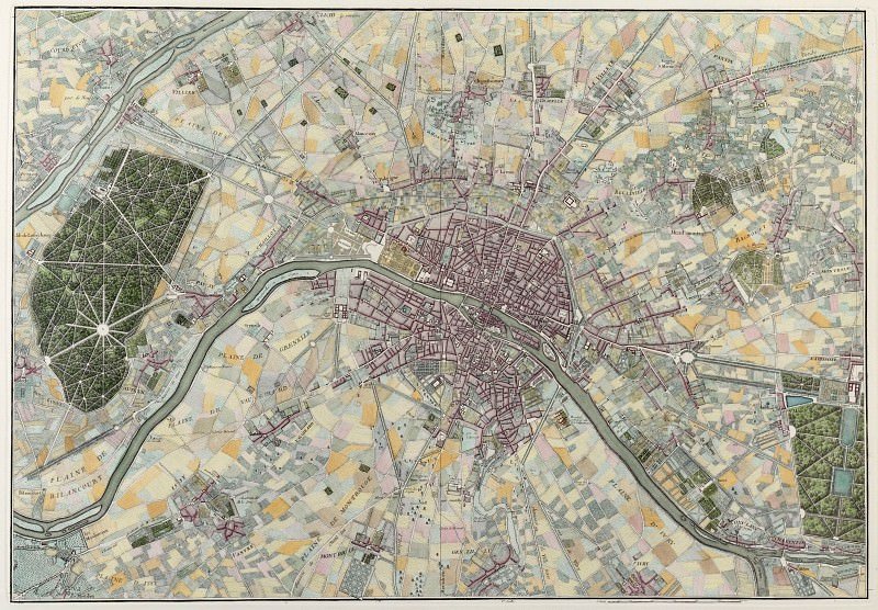 Map of Paris and its Environs, 1740. Antique world maps HQ