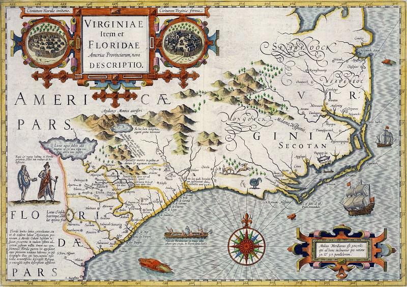 Jodocus Hondius - North Carolina, 1619. Antique world maps HQ