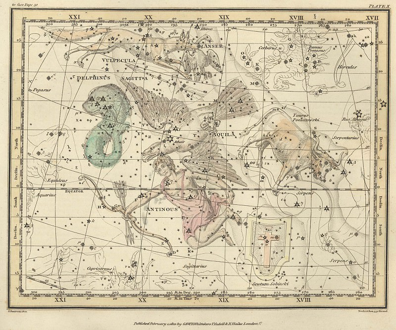 Aquila and Antinous, Scutum Sobieski, Taurus Poniatowski, Sagitta, Vulpecula and Anser, Delphinus. Antique world maps HQ