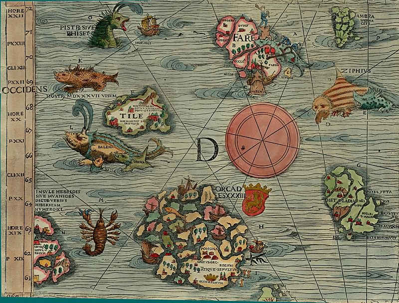 Olaus Magnus - Carta Marina, 1539, Section D: Western Islands. Antique world maps HQ