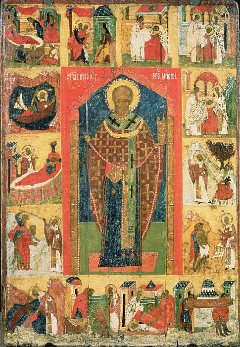 Святой Николай Можайский с житием. Orthodox Icons