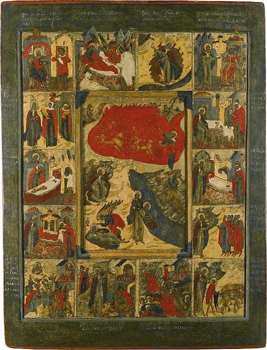Огненное восхождение Илии с житием. Иконы