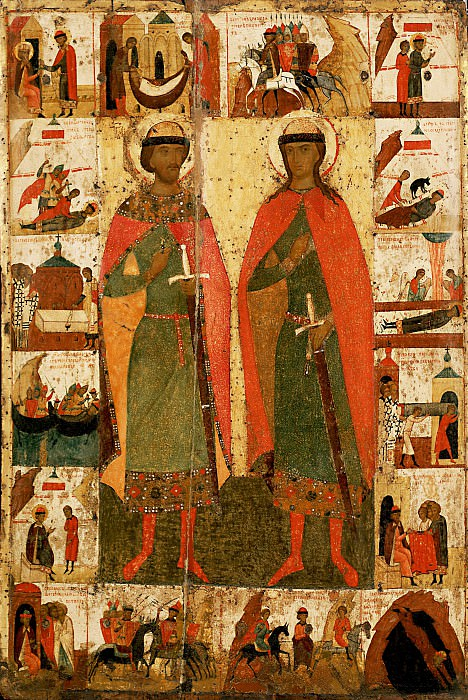 Feofan Grek (ок.1340 - ок.1410) -- Святые Борис и Глеб с житием. Orthodox Icons