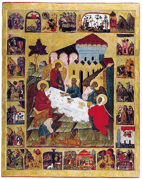 Гостеприимство Авраама с клеймами. Иконы