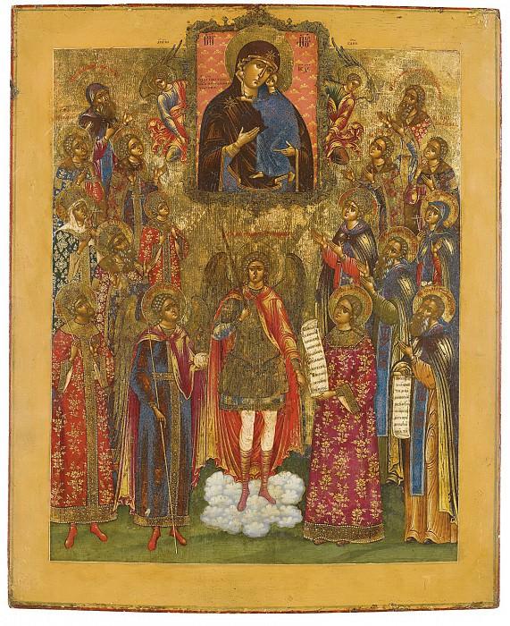 Архангел Михаил с собором святых и иконой Богоматери Толгской. Orthodox Icons