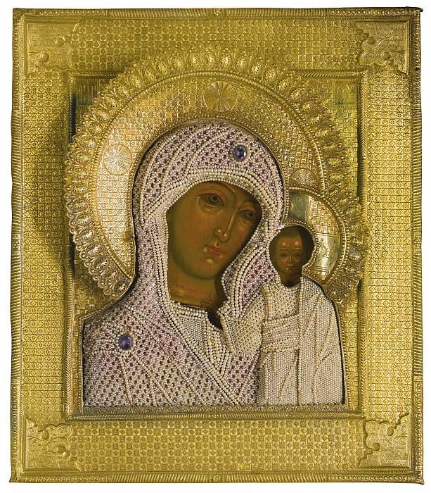 Икона Божией Матери Казанская в серебряном окладе с жемчугом. Иконы