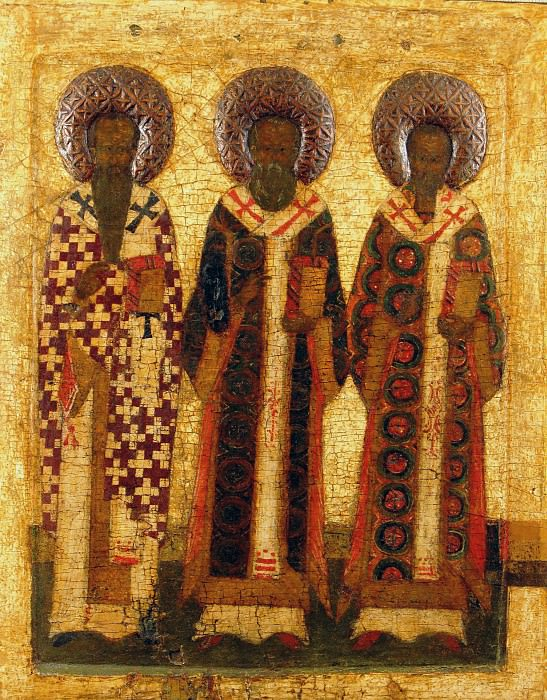 Святые Василий Великий, Григорий Богослов и Иоанн Златоуст. Orthodox Icons