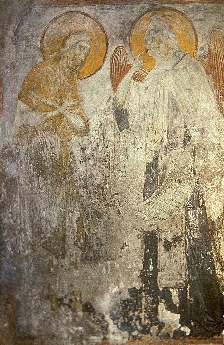 Andrei Rublev (1360-е - 1430) -- Ангел вручает преподобному Пахомию общежительный монашеский устав. Orthodox Icons