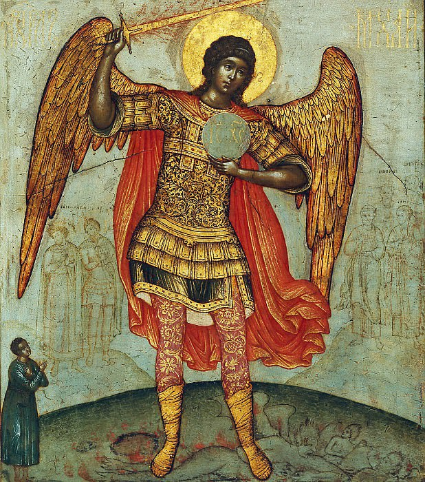 Archangel Michael, trampling the devil (Simon Ushakov). Orthodox Icons