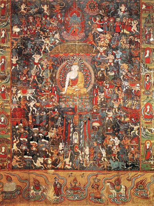 """Unknown. Chinese artists of the Middle Ages (佚名 - 佛传""""降魔成道""""图)"""