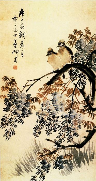Ni Tian. Chinese artists of the Middle Ages (倪田 - 紫藤白头图)