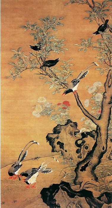 Lu Ji. Chinese artists of the Middle Ages (吕纪 - 桂菊山禽图)