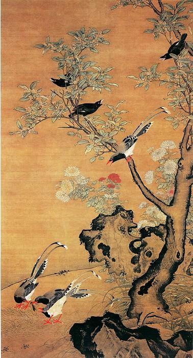 Lu Ji. Китайские художники средних веков (吕纪 - 桂菊山禽图)