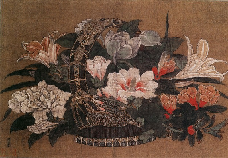 Li Song. Chinese artists of the Middle Ages (李嵩 - 花篮图)