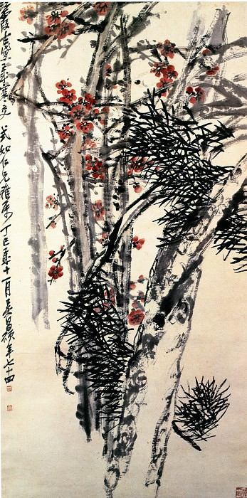 Wu Changshuo. Chinese artists of the Middle Ages (吴昌硕 - 松梅图)