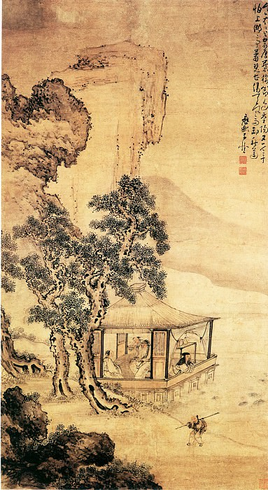 Huang Shen. Chinese artists of the Middle Ages (黄慎 - 湖亭秋兴图)