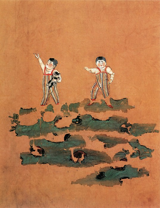 Unknown. Chinese artists of the Middle Ages (佚名 - 双童图(残片))