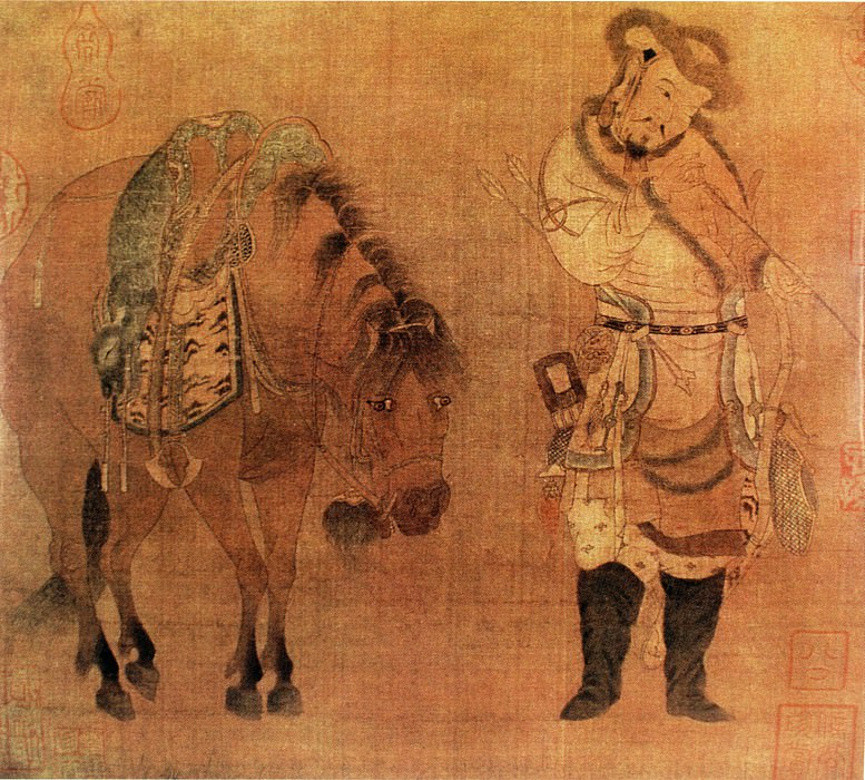 Zhao Burma austere. Chinese artists of the Middle Ages (赵伯马肃 - 番骑猎归图)