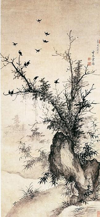 Wen Jing. Китайские художники средних веков (周文靖 - 古木寒鸦图)