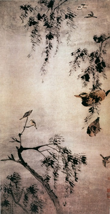 Gao Qipei. Chinese artists of the Middle Ages (高其佩 - 柳塘鸳鸯图)