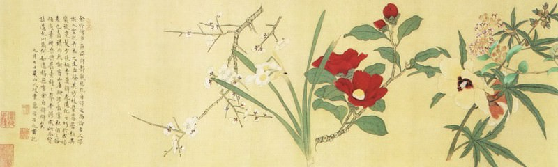 Lu Zhi. Chinese artists of the Middle Ages (鲁治 - 百花图(部分))