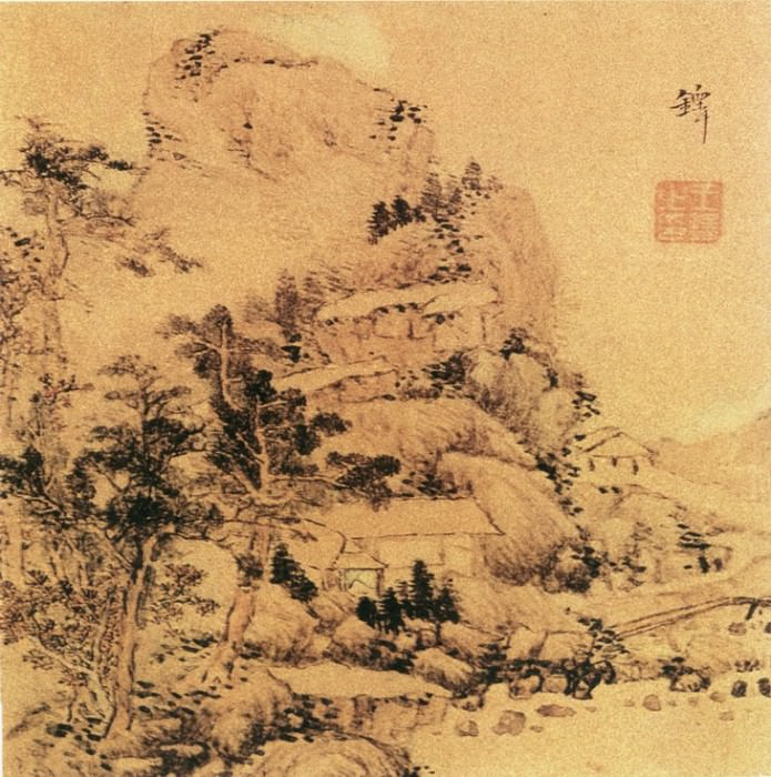 Wang Duo. Chinese artists of the Middle Ages (王铎 - 山水图(之一二))