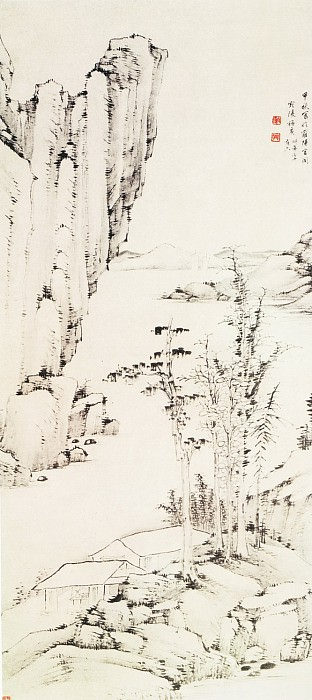 Mei Geng. Chinese artists of the Middle Ages (梅庚 - 秋林书屋图)